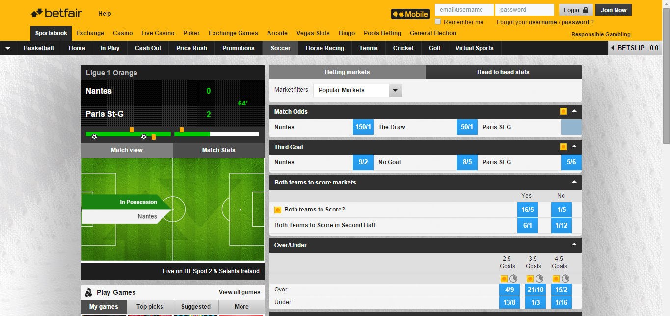 Betfair Sportsbook - Football site
