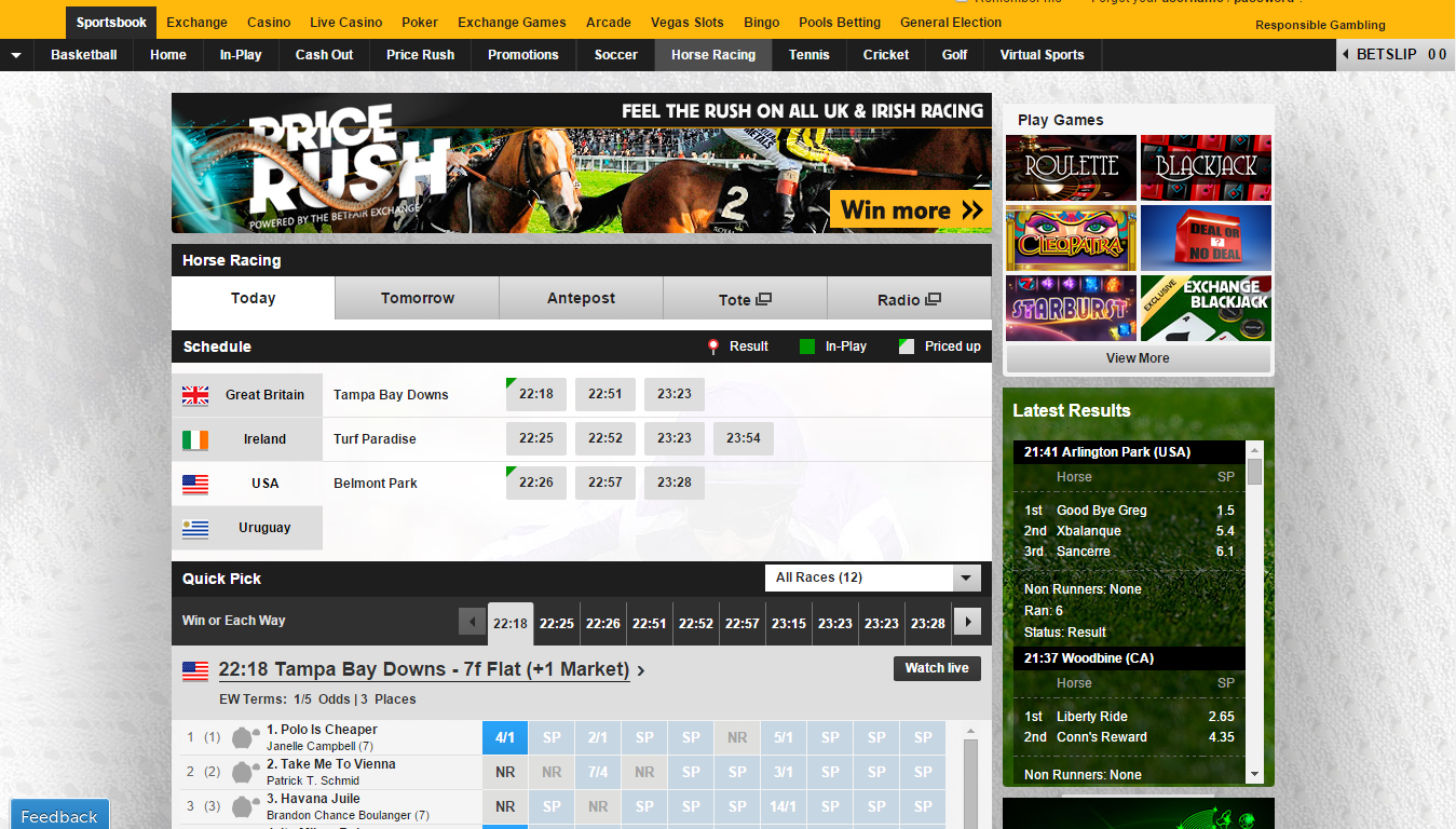 Betfair Sportsbook - Horse Racing site
