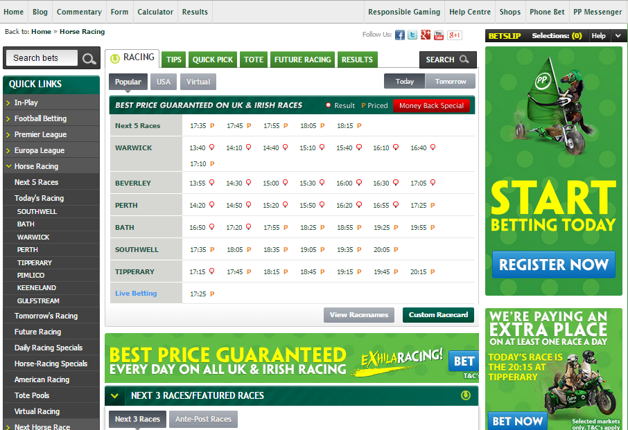 Paddy Power horse racing site