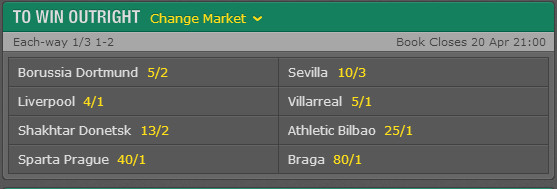 Europa league odds outright winner