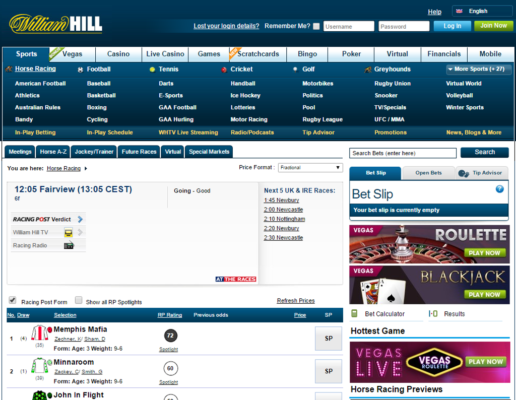 William Hill horse racing page