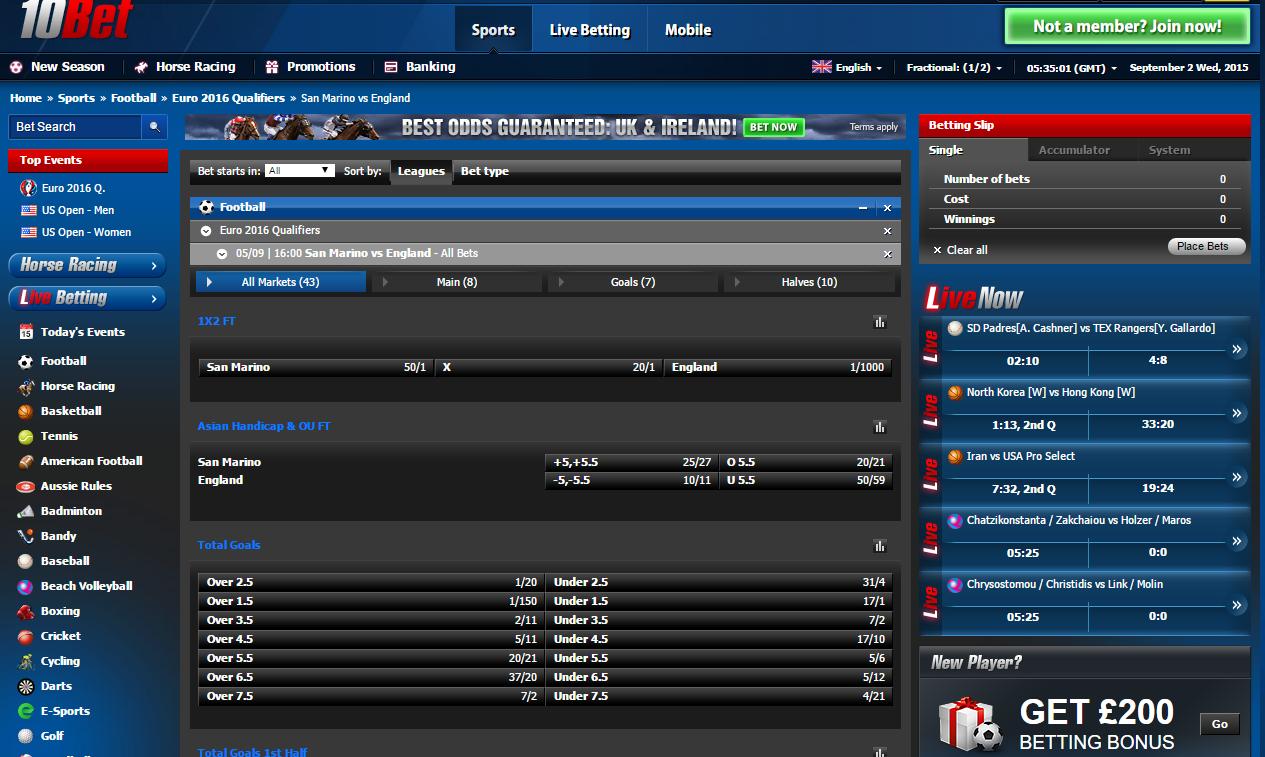 10Bet.co.uk football betting