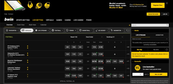 Live Betting with bwin