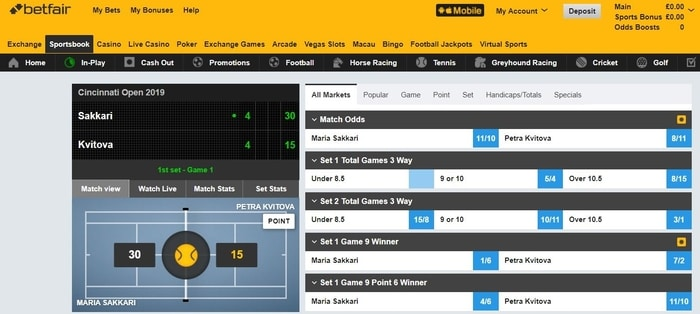 live tennis betting with betfair