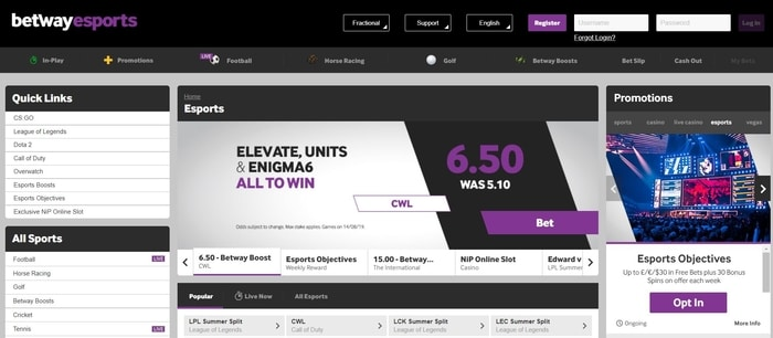 esports betting at betway