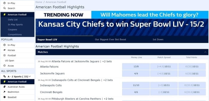 american football betting with william hill