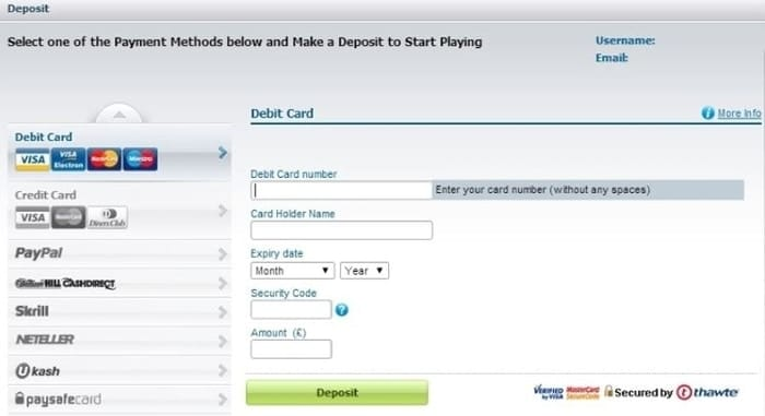 william hill debit card deposit