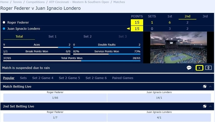 betting on tennis with william hill