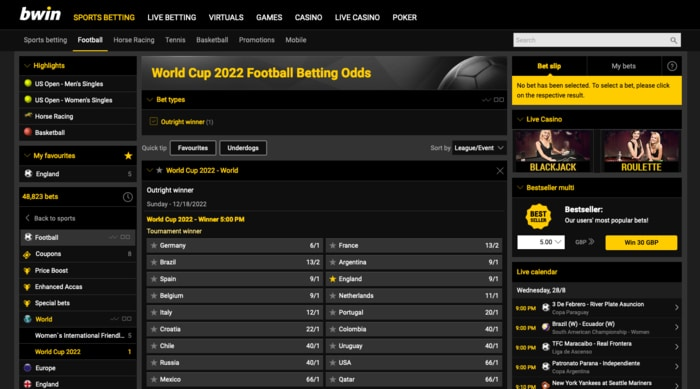 World Cup Betting at bwin