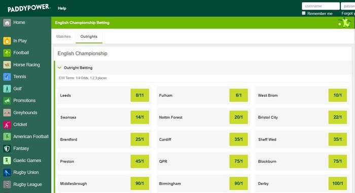 paddy power championship outright market