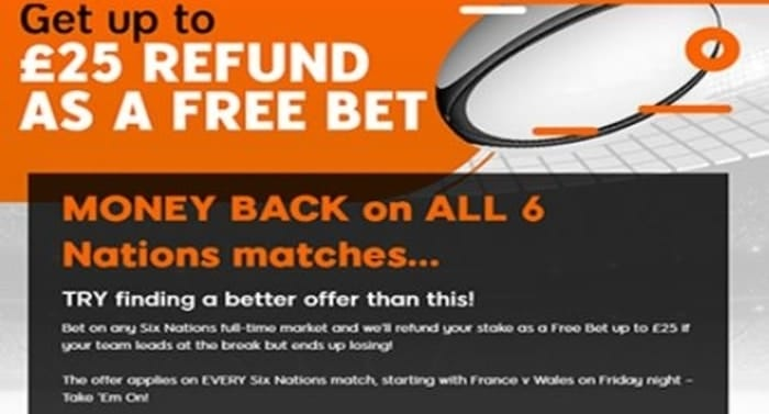 888sport six nations free bet promotion