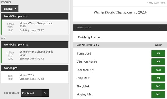 unibet snooker world championship 2020 betting odds