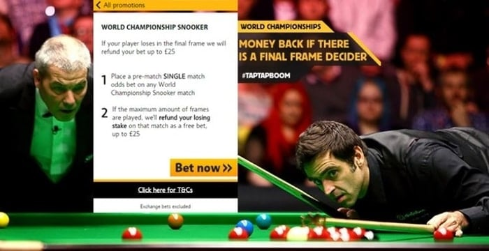 betfair world championship snooker promo