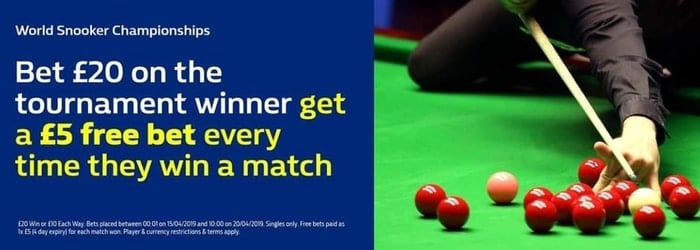 william hill snooker world championship free bet promo