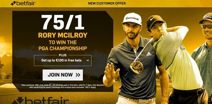 betfair golf new customer offer on the pga championship