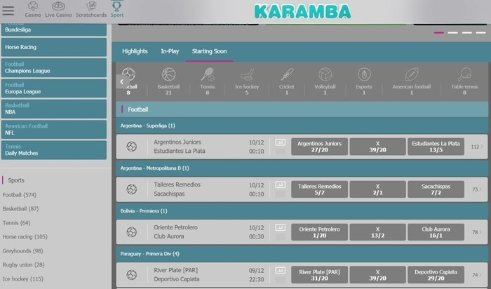 karamba sports live in play betting