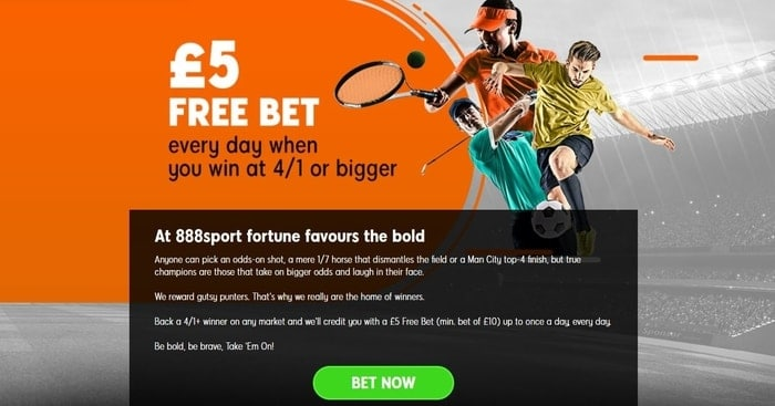 888sport free bet every day promotion