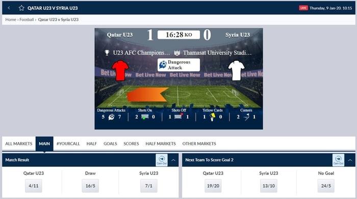 corla live betting on football