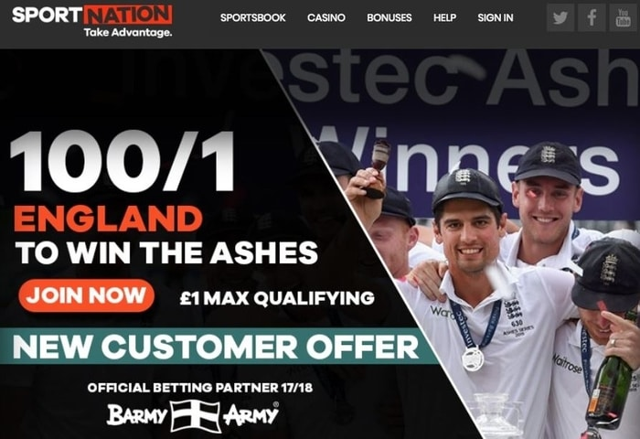 sportnation ashes betting new customer offer