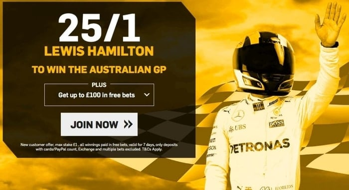 betfair formula one enhanced odds for new customers