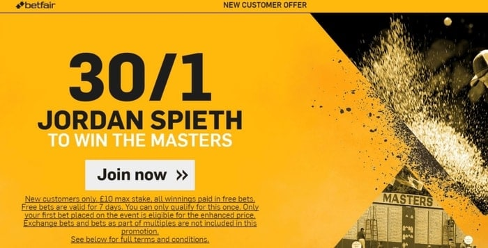 betfair golf enhanced odds for the masters