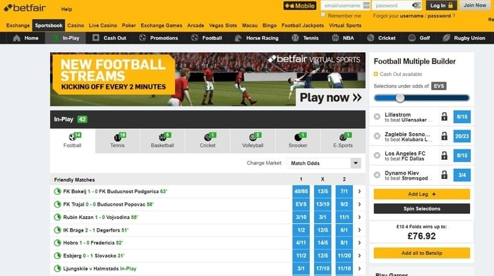 betfair sportsbook live betting user interface