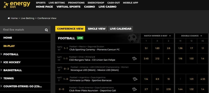 energybet live betting user interface