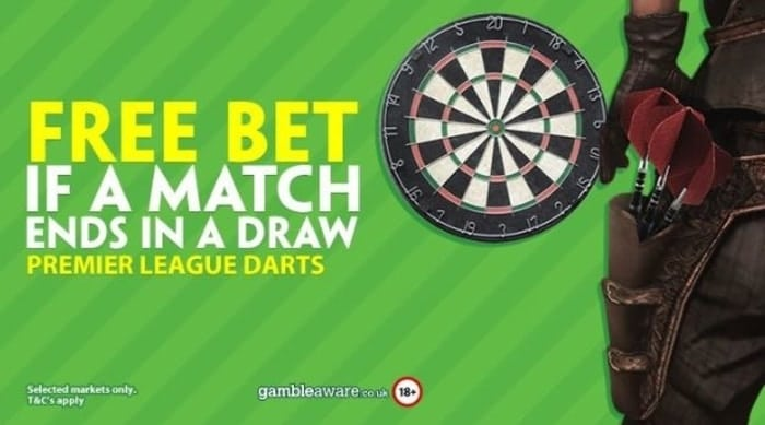 paddy power premier league darts free bet promotion
