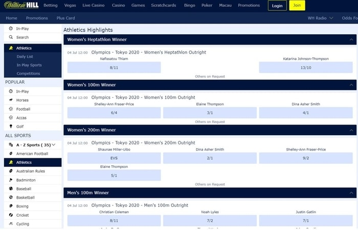 william hill olympics betting