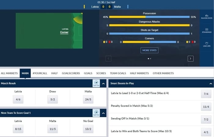 coral live in-play betting interface